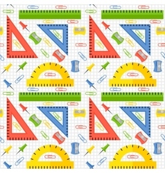seamless pattern with school stationery vector image