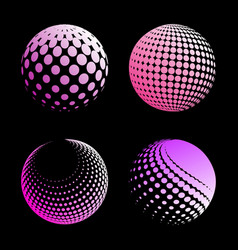 set abstract halftone 3d spheres 4 vector image