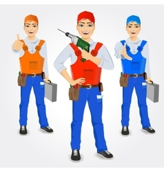 Set of handymen holding green drill vector
