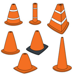 set of traffic cone vector image