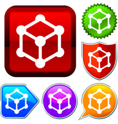 Set shiny icon series on buttons cube vector