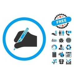 Signature Hand Flat Icon with Bonus vector