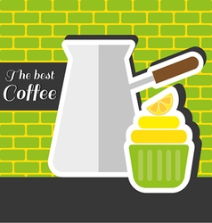 Silver metal jar of coffee with a green cake vector image