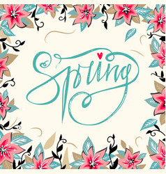 spring lettering with hand drawn flower vector image