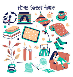 sweet home furniture and house decor isolated vector image