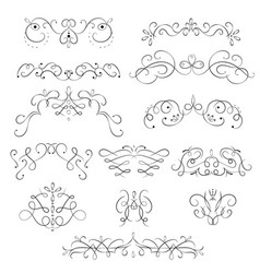 swirling floral elements black thin line icon set vector image
