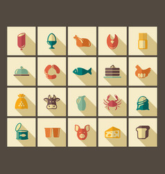 symbols of food in style of a retro vector image
