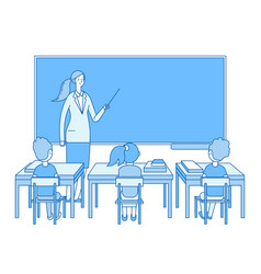 teacher in classroom young woman at blackboard vector image