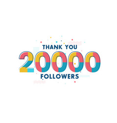Thank you 20000 followers celebration greeting vector