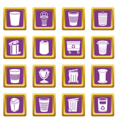 trash can icons set purple square vector image