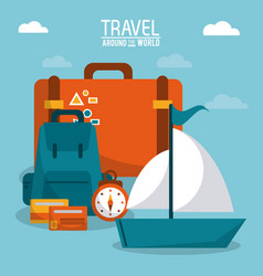 travel around the world ship boat luggage credit vector image