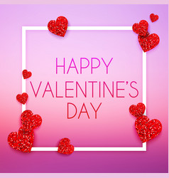 valentines day card with glitter red heart happy vector image