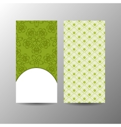 Vertical green floral banner template vector image