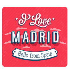 vintage greeting card from madrid vector image
