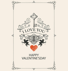 vintage valentine card with key cupids and heart vector image
