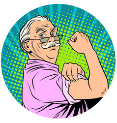 We can do it old man retired pop art avatar vector