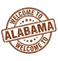Welcome to alabama brown round vintage stamp vector