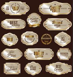 white gold framed labels vector image