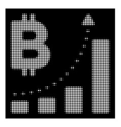 white halftone bitcoin bar chart positive trend vector image