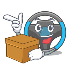 with box steering wheel in the character shape vector image