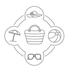 womans beach bag contents linear icons set vector image