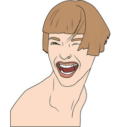 young woman laughing on white vector image