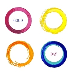 Bright set with rainbow inked circle for vector