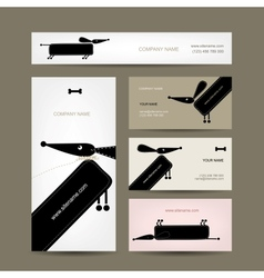 Business cards design with funny dogs vector image