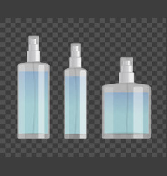 Cosmetic spray bottles set isolated on checkered vector