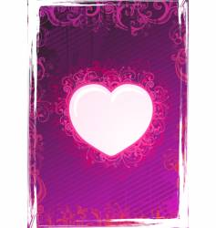 floral pink heart frame vector image