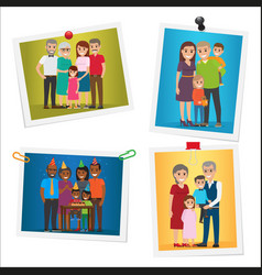 happy family pinned portraits flat set vector image vector image