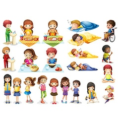 Kids and different routines vector image