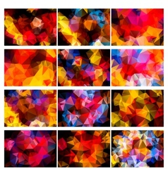Polygonal backgrounds colorful set vector image