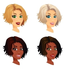 set of woman portrait vector image vector image