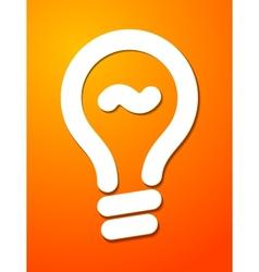 White cut lightbulb symbol on orange background vector image vector image