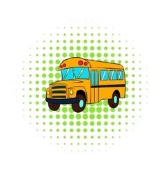 Yellow school bus icon comics style vector image