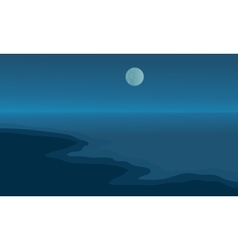 Beach at night scenery with moon vector image