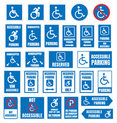 Disabled parking sign accesible parking vector