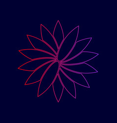 flower sign line icon with gradient from vector image