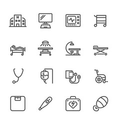 Hospital and medical equipment icons set line vector