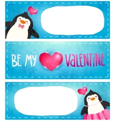 Valentines card with cute cartoon penguine vector image vector image
