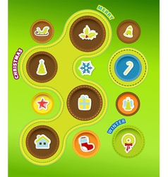 Christmas icons in circles vector image