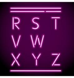 Neon Light Alphabet R-Z vector image