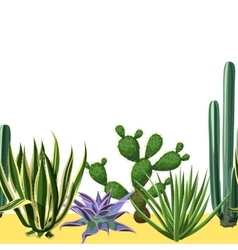Seamless border with cactuses and succulents set vector image vector image