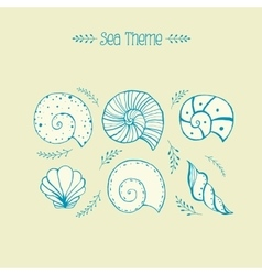 Set of objects sea shells in sketch vector image vector image