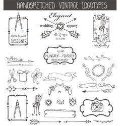 Vintage logotypes elements setDoodle hand sketchy vector image vector image