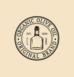 vintage olive logo retro emblem with vector image vector image