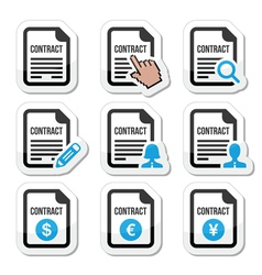 Business or work contract signing icons set vector image vector image