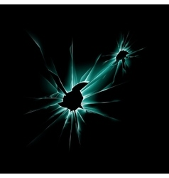 Green shattered glass window with sharp edges vector