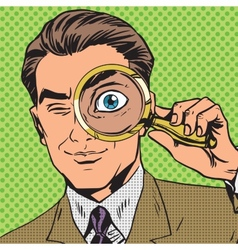 The man is a detective looking through magnifying vector image vector image